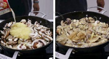 Adding condensed cream of chicken soup to chicken and mushrooms in pan