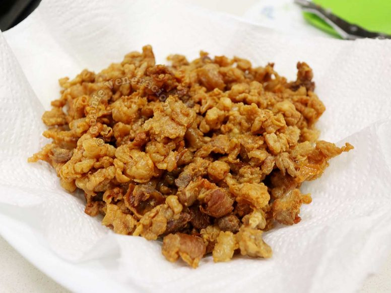 Pork fat that had browned into cracklings