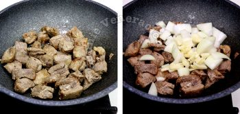 Adding chopped onion and garlic to browned pork