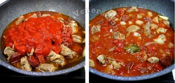 Stewing pork and sausage with crushed tomatoes