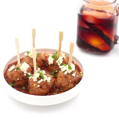 Skewered Spanish-style meatballs and sangria