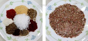Ingredients for Cajun seasoning laid out on a plate