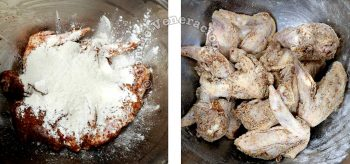 Coating marinated chicken wings with flour