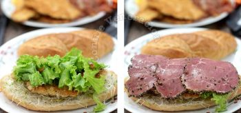Adding lettuce and pastrami to sandwich filling