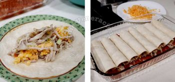 Wrapping chicken in tortillas
