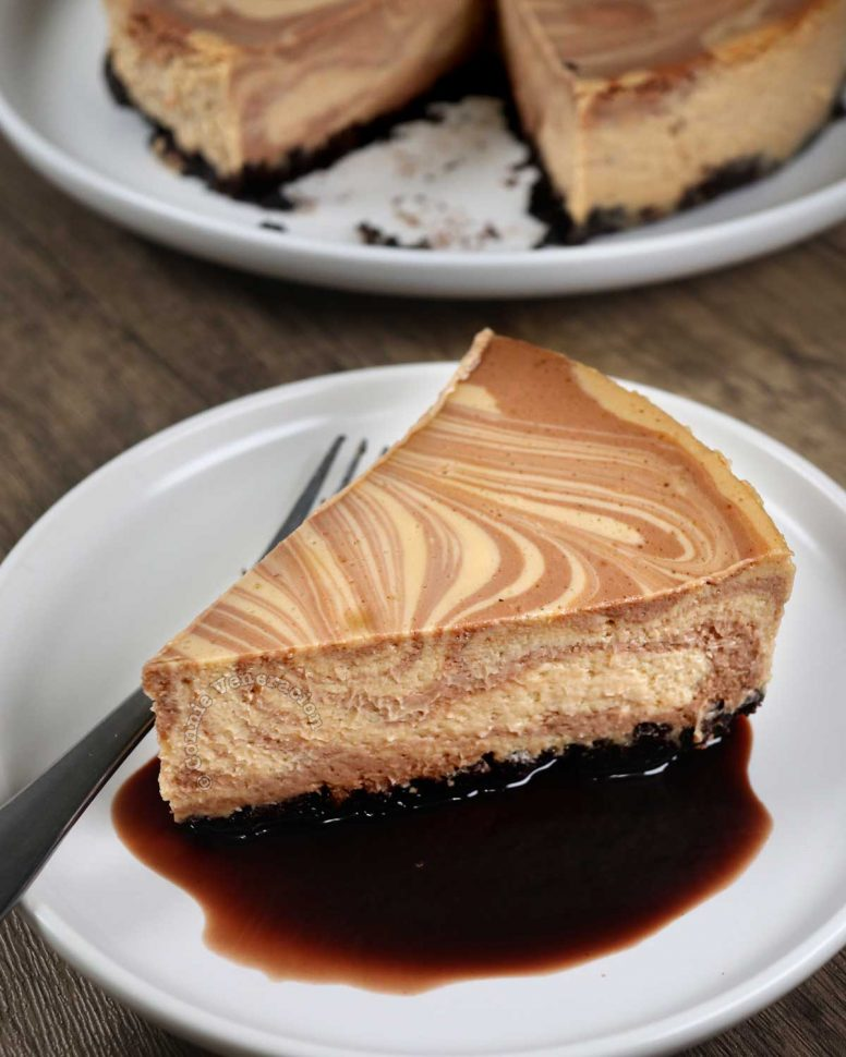 Chocolate Coffee Marble Cheesecake in a Pool of Chocolate Syrup