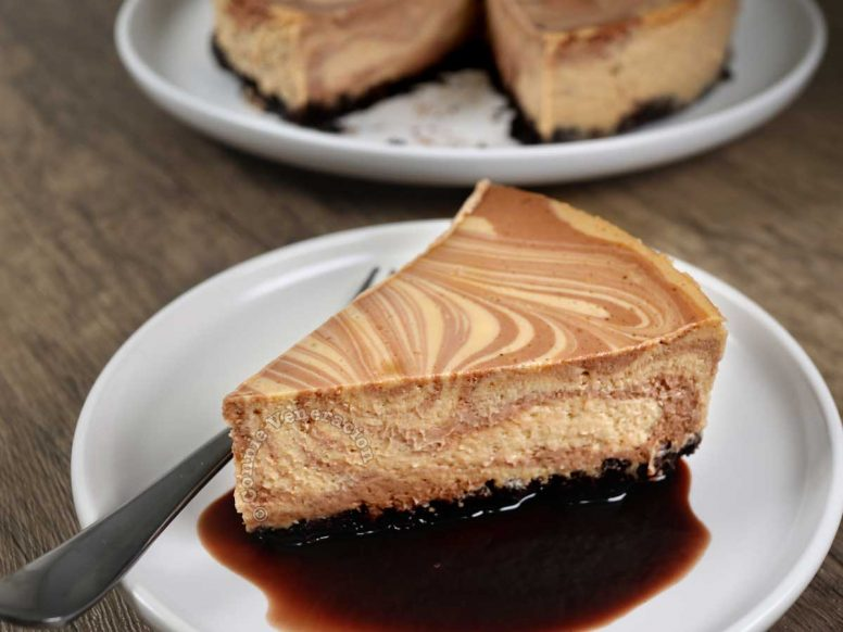 A Slice of Chocolate Coffee Marble Cheesecake