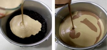 Pouring chocolate and coffee cheesecake batter alternatingly into the pan