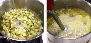Pouring chicken broth into pot with sauteed leeks and potatoes before pureeing with immersion blender