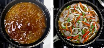 Adding broth to rice and spices in pan before topping with squid rings and shrimps
