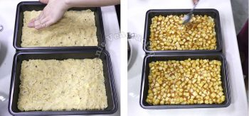 Patting the crust on baking pans and topping with cooked apples