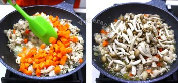 Cooking chicken with carrot and mushrooms in pan