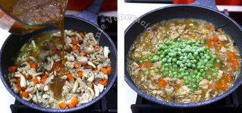Adding gravy and peas to chicken in pan