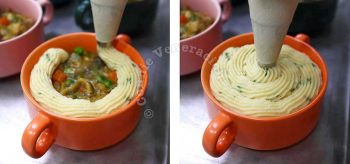 Piping mashed potato on top of chicken and gravy in baking dish