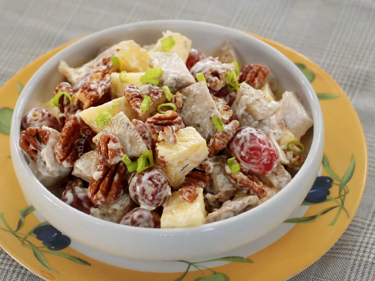 Chicken salad with pineapple, grapes and pecans