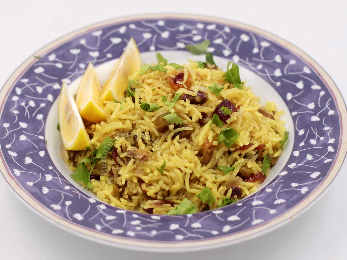 Pilaf with dried cranberries, toasted pistachio nuts and golden raisins