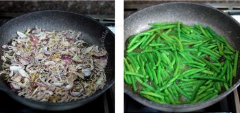 Toasting onion slices and panko / Sauteeing green beans in butter