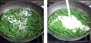 Adding flour and cream to boiled green beans