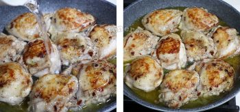 Adding water to browned chicken thighs in pan