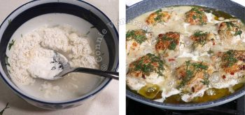 Stirring flour in water to thicken lime dill chicken in pan
