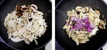 Sauteeing mushrooms and onion slices in butter