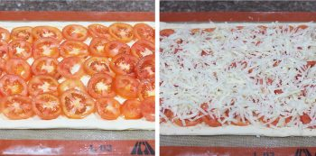 Arranging tomato slices on puff pastry and topping with cheese