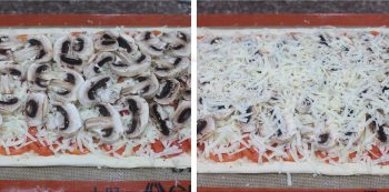 Arranging mushroom slices on puff pastry and covering with mozzarella