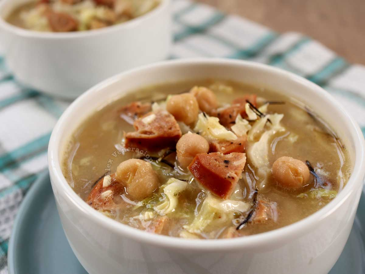 Chickpea soup with sausage, cabbage and roemary