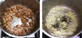 Browning sausages and onion with rosemary in pot