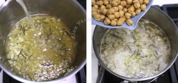 Pouring in broth and adding chickpeas to pot