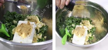 Adding cream cheese and seasonings to spinach and artichoke in mixing bowl