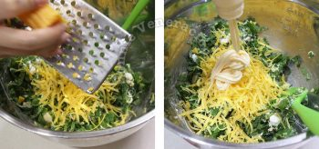 Adding cheddar and mayo to spinach artichoke dip