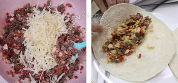 Stuffing tortilla with beef and cheese mixture