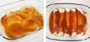Stuffed tortillas smothered with enchilada sauce