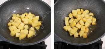 Browning diced potatoes in hot oil