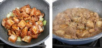 Adding marinated pork ribs to sauteed spices