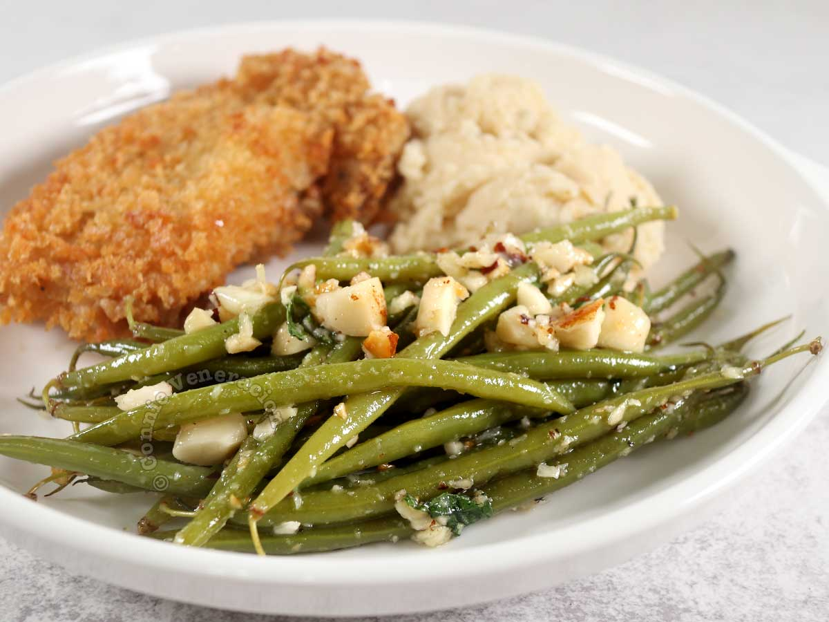Haricot vert (French green bean) salad with Chicken Schnitzel and Mashed Potatoes
