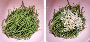 Adding chopped Brazil nuts to steamed haricot vert