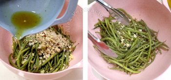 Drizzling dressing over haricot vert and Brazil nuts