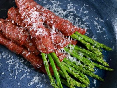 Roasted salami-wrapped asparagus: appetizer or cocktail food