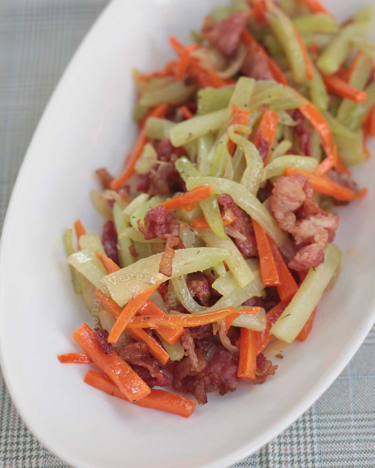 Sautéed chayote and carrot with bacon (cooked in bacon fat!)